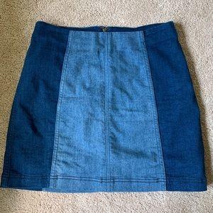 Free People Two-Tone Denim Skirt